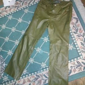 Gap olive Green  Leather pants 8
